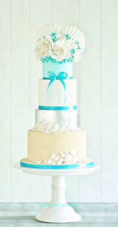 cake idea, blue, wedding cake designs, dream beach wedding, wedding cakes, beach weddings, beach themes