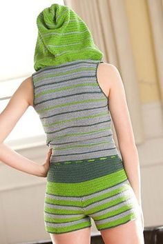 This great hoodie romper is called the Vesper Romper, it was in the Summer 2012 issue of Interweave Croche
