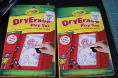 Dry Erase Play Sets for the kids! A great way to keep them entertained on trips... with no mess!