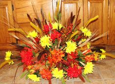 Fall Colors Mums Memorial Funeral Cemetery Grave Tombstone Saddle Silk Flowers | eBay