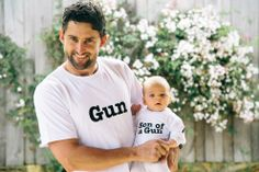 """Hilarious matching t-shirt set for father and son. """"Gun"""" and """"Son of a Gun""""."""
