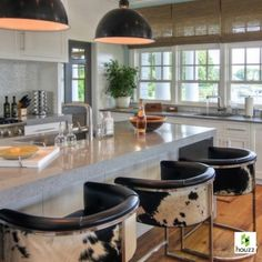 Calvin Low Barstool - Hide Leather - Arteriors Home | Clayton Gray Home | mid-century modern island bar seating