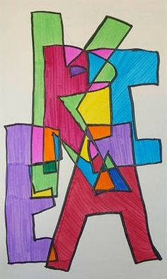 Overlapping block letters, colored with marker.