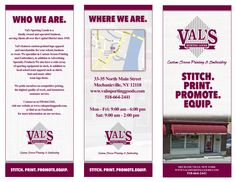 Val's Sporting Goods in-store brochure, front view