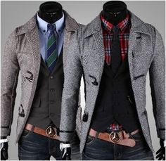 Mens Horn Button-Up Slim Fit Coat