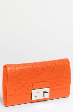 Michael Kors 'Gia' Ostrich Embossed Leather Clutch at #Nordstrom. Ooh. Likey.