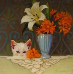 """The Interloper"" Diane Hoeptner Cleveland, OH  #cat #catart #cats #kitty #kitties #art #illustration #painting"