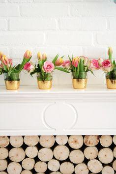 DIY gold leaf vases.
