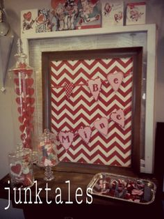 Chevron Valentines Day decor.