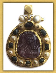 Byzantine Pendant with Cameo of Virgin  Late 12th-13th century  Mount Athos, Vatopedi Monastery
