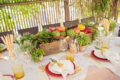 vegetable inspired centerpieces..cute idea for a big barn bash..