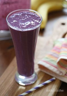 Blueberry Banana PB Smoothie - This is a great breakfast for busy mornings!
