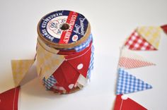 Inspiration: Mini Bunting on a Vintage Wooden Spool (bunting can be used as gift ribbon)