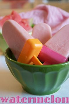 Watermelon yogurt popsicle