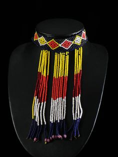 Africa | A beaded necklace that is worn by young girls from the Afar peoples of Ethiopia | ca. 1970.
