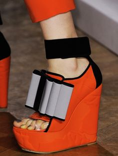 John Galliano Heavy Red Wedges Grey Bow Spring Summer 2014 #Shoes #Heels
