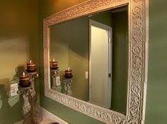 tile around mirrors bathroom mirrors, downstairs bathroom, tiles, decorative mirrors, framed mirrors, a frame, old frames, master baths, diy mirror