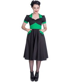 1950s Style Black & Green Vampiress Swing Dress