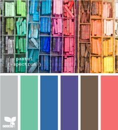 pastel spectrum travel packing, pastel spectrum, color palettes, web design, design seeds, fashion styles, colour palettes, rainbow, pastel color
