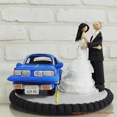 Car Wedding Cake Topper  #wedding, #dress, #car, #bride, #groom, #cake