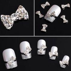 BESTSELLER! 350buy 20x 3D Clear Alloy Rhinestones Bow Tie Nail Art DIY Decorations $2.96