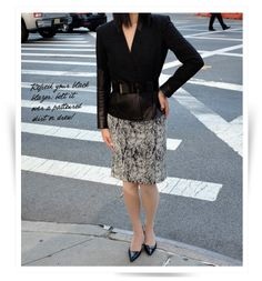 Belted Blazer and Patterned Dress / Professionelle