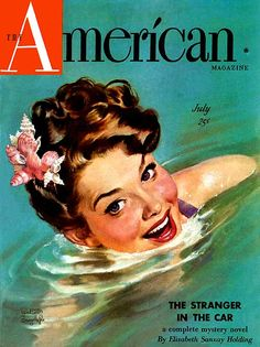 I adore the idea wearing a cluster of cute little shells tucked into one's hair at the beach. #vintage #magazine #cover #illustration #1940s #beach #summer #shells