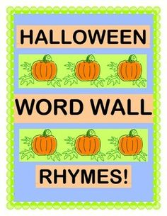 Turn your HALLOWEEN WORD WALL into a RHYME WALL!  Make a PUMPKIN SHAKER CRAFT with paper plates and pumpkin seeds, and 'keep the beat'!  Play a funny GROUP GAME to make Halloween Rhymes from context clues.  Use the 12 HALLOWEEN WORD / PICTURE CARDS to put the Rhyming Word Pairs on your Word Wall.  Multi-Sensory WORD WORK!  (11 pages)  From Joyful Noises Express TpT!  $