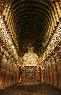 The cave at Ajanta called number 26, which aligns to the summer solstice sunrise. As the sun rises, a beam of light penetrates this cave and illuminates the stupa and the statue of Buddha within. (photo copyright 2011 wiki user dola.das85)