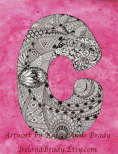 Alphabet Letter C zentangle zendoodle doodle initial monogram authorized art print by Karen Anne Brady. $5.00, via Etsy.