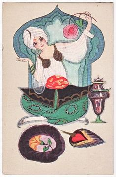 Post Card Art Deco Egyptian Girl Chiostri | eBay