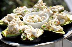 Crab stuffed avocados with jalapeños and cilantro