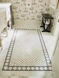 Mosaic rug is simple & timeless against a backdrop of classic black and white #wallpaper. #wallpinwednesday repinned from Lee Nicholson aka @FilmoreClark