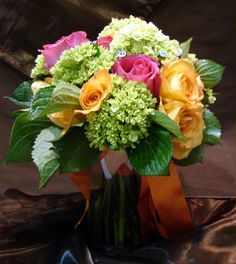 pink roses, orang, calla lilies, wedding bouquets, green, cottages, hydrangea, flowers, blues