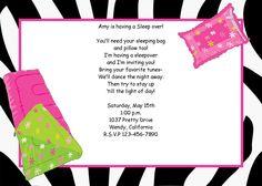 Girls sleepover invitation, zebra print with sleeping bag