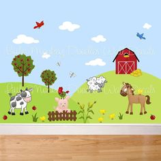 Farm Animal  Large WALL DECALS Girls or Boys Bedroom Baby Nursery Art Decor