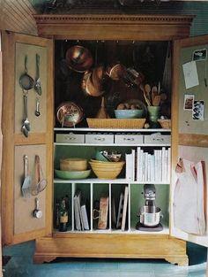 armoire in the kitchen...BRILLIANT!