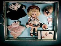 Tiny Miss Series Strung Ginny Doll #41 June 1953 with Wardrobe by Vogue