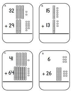 Place Value Addition Task Cards, Laminate and kids can regroup with a dry erase marker. $