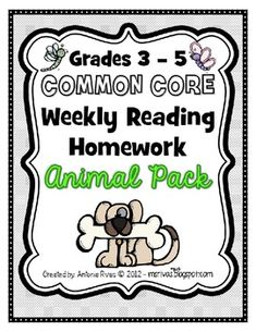Weekly Reading Homework - Animal Pack third-fifth grade