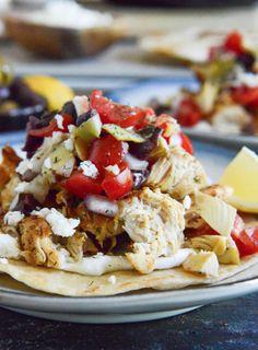 Marinated Greek Chicken Tostadas | howsweeteats.com