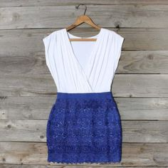 Tucked Lace Dress in Blue...