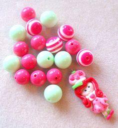 Pink and Green Bubblegum beads Chunky Beads by CatsBeadKitsandMore