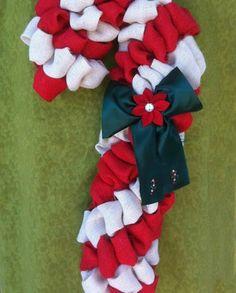 Burlap Candy Cane Wreath Tutorial