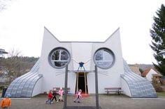 German kindergarten designed as a giant cat - Soo adorable!