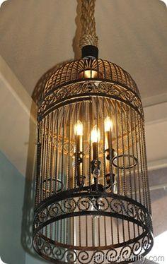 DIY Birdcage Chandelier, via Knock Off Decor