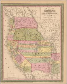 Nevada California Oregon Arizona Antique Map Mitchell Cowperthwait 1853. This original antique map of Nevada, California, Oregon, Washington, Utah and New Mexico comes from Mitchell's New Universal Atlas. This atlas was published by Thomas Cowperthwait in 1853 at 253 Market St. Philadelphia. Cowperthwait acquired the rights to the New Universal Atlas in 1850 from Mitchell and continued annual updates until 1855.