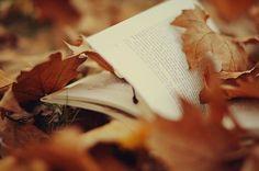 Reading outside among the fall leaves <3
