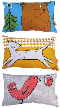 Bright Children's Pillows - An alternative to pink & blue! yeah!