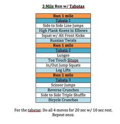 3 mile Run with Tabata @Courtney Baker Henry, we need to incorporate this w/our run.  We already do the 3 miles.